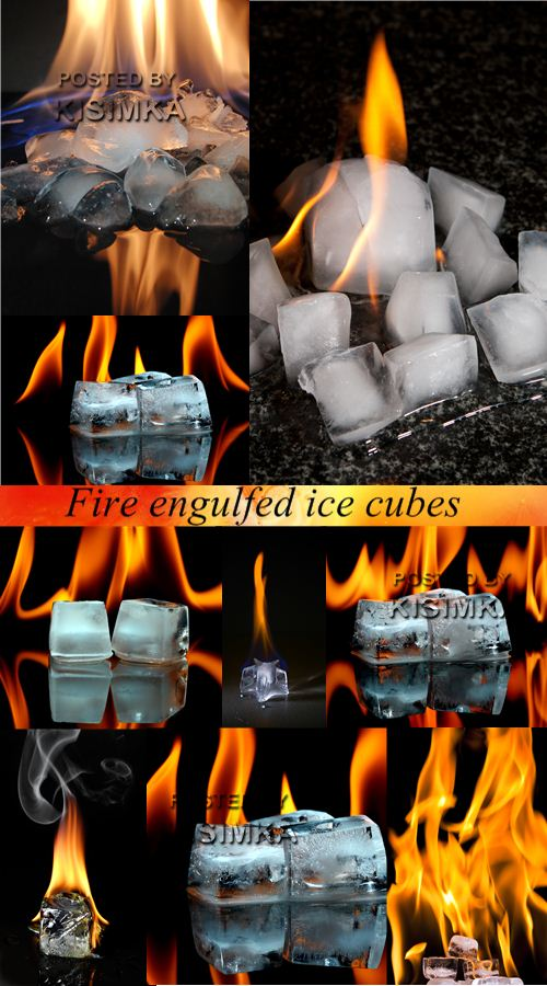 Stock Photo: Fire engulfed ice cubes