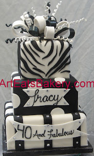 Three tier square black and white zebra stripe and polka dot fondant custom birthday  cake with rhinestones