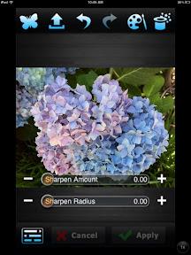PerfectPhoto Sharpen tool screen