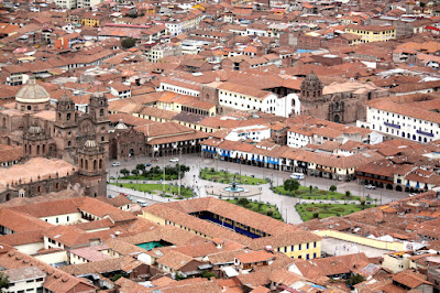 Plaza de Armas from above in Cuzco Peru