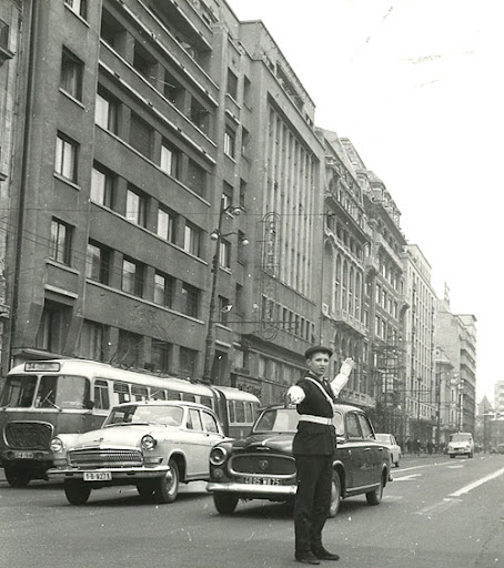 Policeman directs traffic