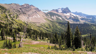 The notch and the highline trail seen from Granite Park Chalet