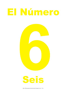 Lámina para imprimir el número seis en color Amarillo