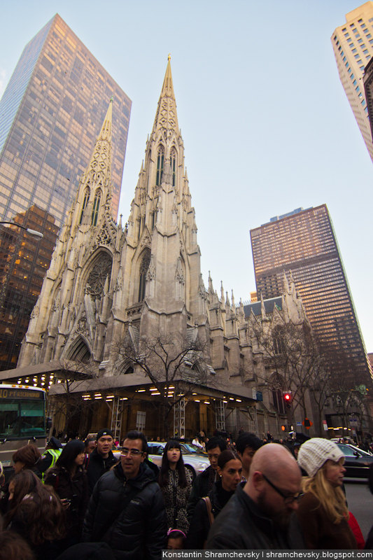 USA New York Christmas Saint Patrick Cathedral США Нью Йорк Рождество Собор Святого Патрика