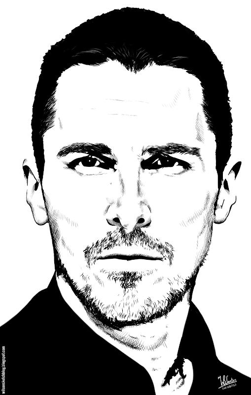 Ink drawing of Christian Bale, using Krita 2.4.