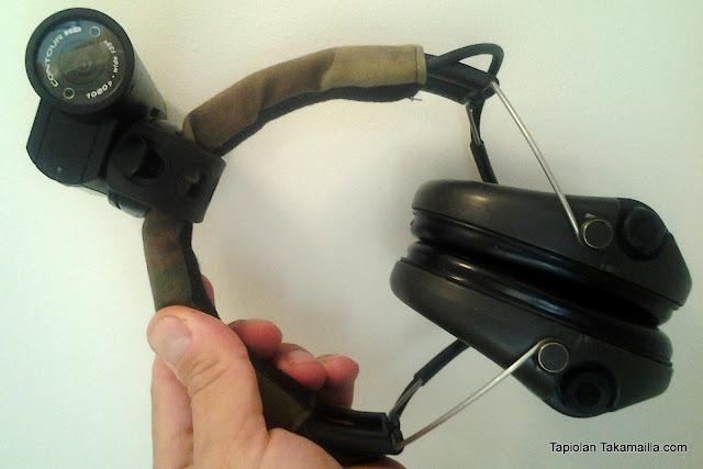 Contour-kamera kiinnitettynä Sordin-kuulosuojaimeen.