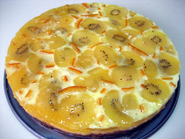 Tarta cítrica de limón, kiwi y naranja en Pollo en salsa de naranja y limón