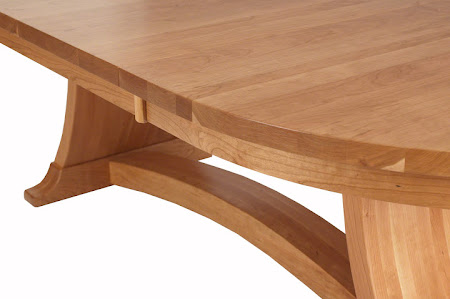 "Detail of 90"" x 48"" Adagio Table in Natural Cherry"