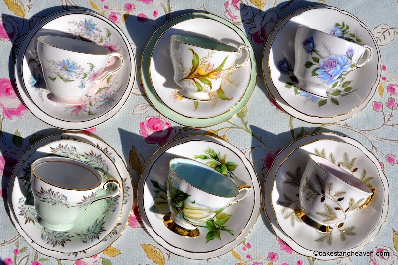 six beautiful pale blue, green and pink vintage teacups