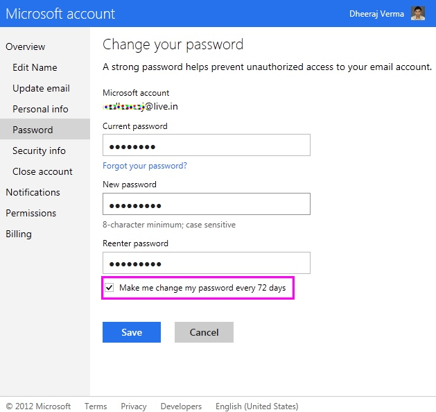 Perishable hotmail password