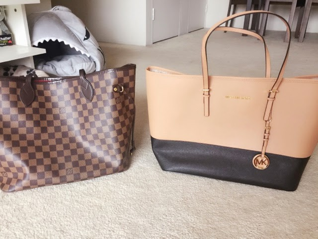 2180a3180e45 Side by side comparison of the LV Neverfull and the Michael Kors Jet Set  Travel Medium