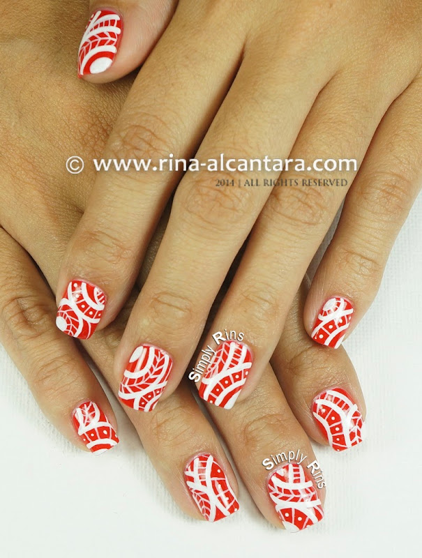 Red Tribal Nail Art by Simply Rins