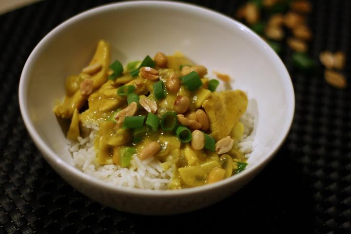 indisk kylling med champignon og ris