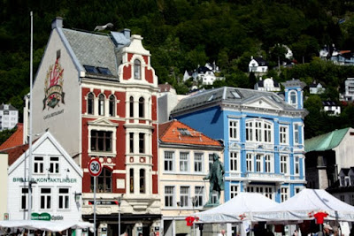 Colorful buildings in Bergen Norway