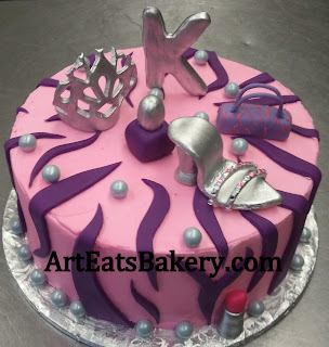 Girl's custom unique pink and purple zebra stripe birthday cake with silver shoe, handbag,tiara,lipstick, nail polish and monogram
