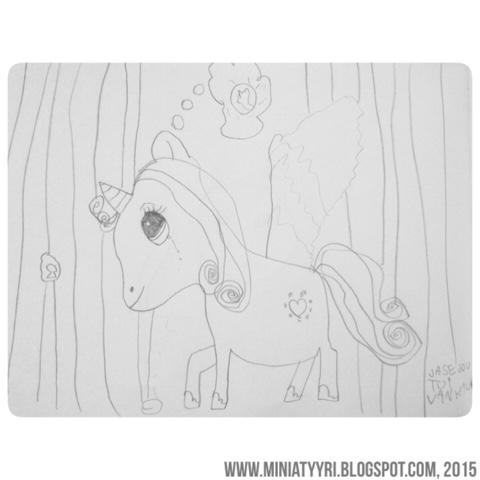 Katkelma kuusivuotiaan lapsen sadusta, kun poni joutui vankilaan - Excerpt from the six-year-old's child's fairy tale, when the pony was sent to prison