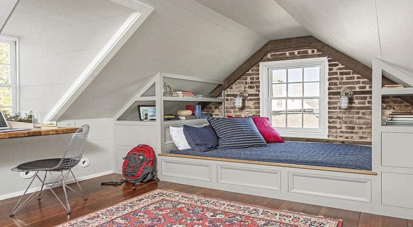 Thiết kế tầng áp mái thành phòng ngủ làm tăng công năng sử dụng