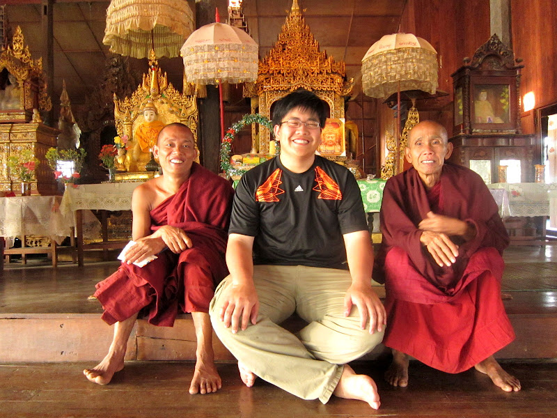 My brother with the Burmese monks
