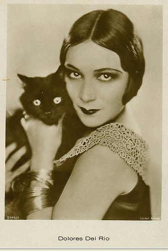 Dolores Del Rio and a cat