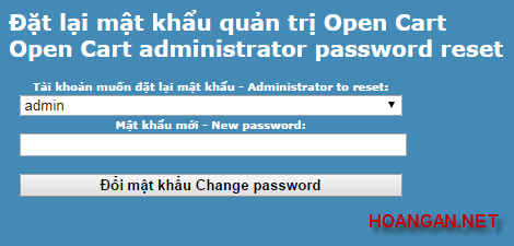 Reset Password Administrator Opencart