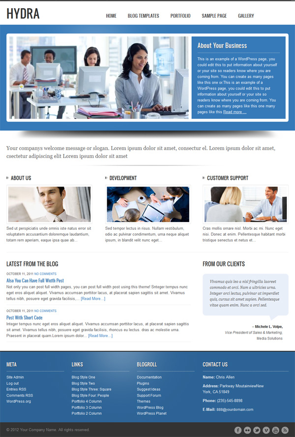 cms business wordpress theme hydra