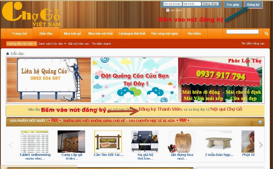Hướng dẫn đăng bài, tin mua bán lên Chợ gỗ Việt Nam