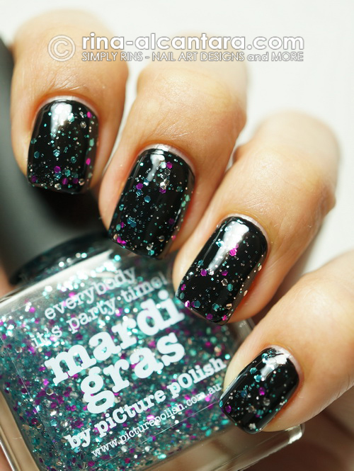 Picture Polish Mardi Gras over black