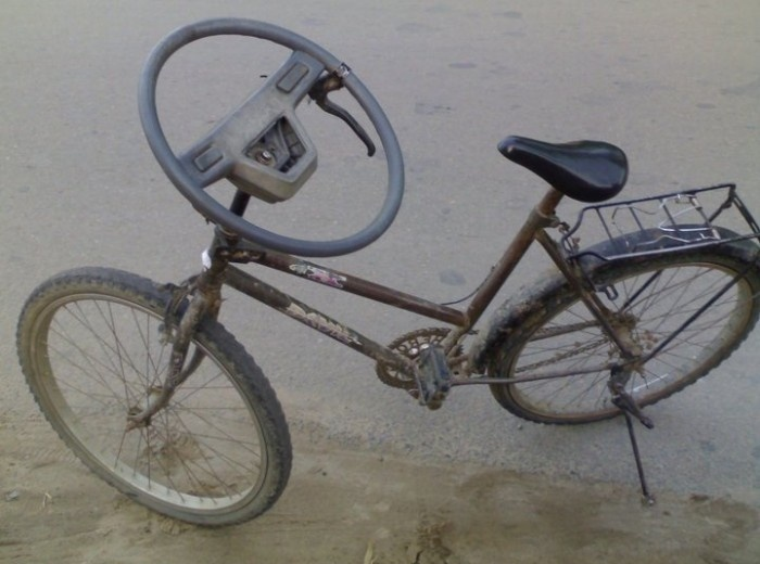 Bike With Car Steering Wheel