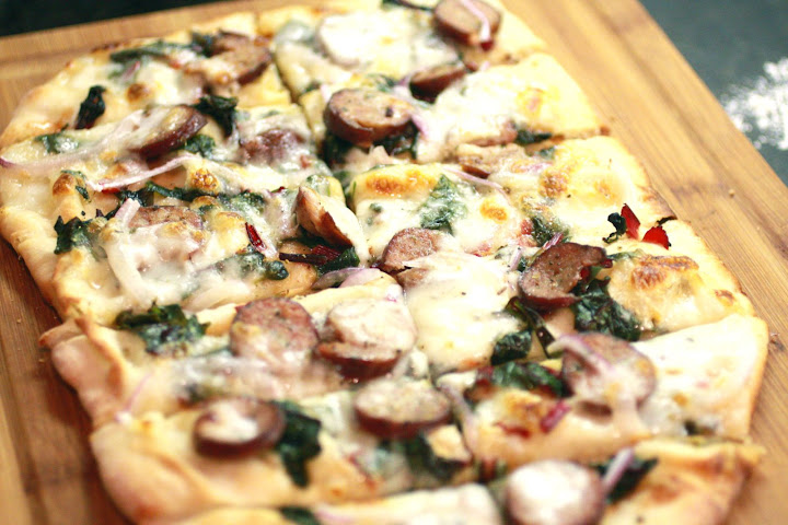 DLW: Chicken Garlic Sausage & Swiss Chard Flatbread | Onions and ...