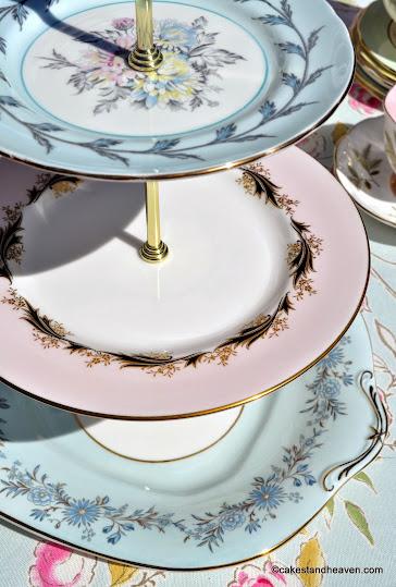 Pastels Mismatched Vintage China Tea Set And 3 Tier Cake Stand