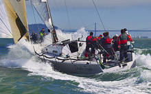 J/125 sailing fast downwind in California