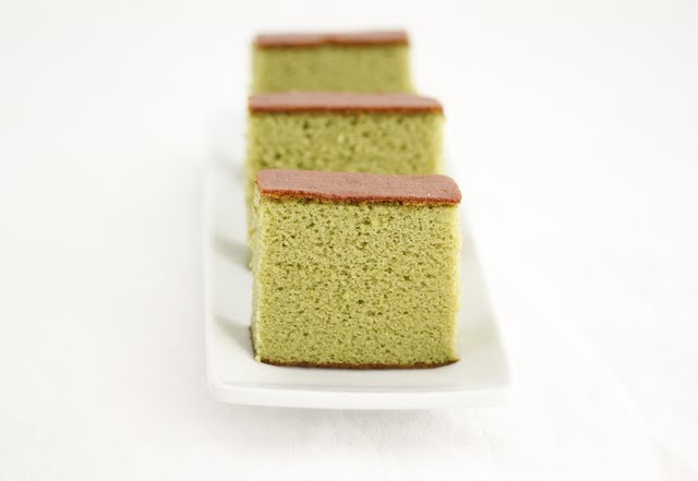 photo of slices of Matcha Green Tea Castella Cake on a plate