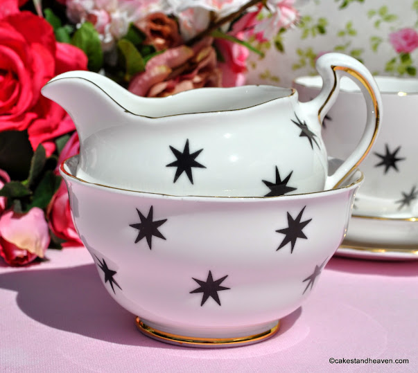 Royal Vale Vintage Black Star Milk Jug and Sugar Bowl