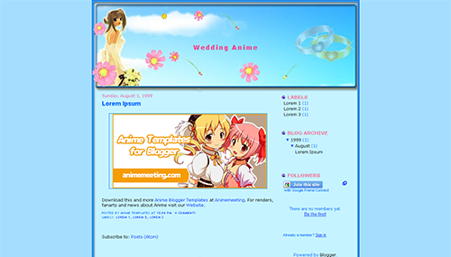 anime blogger template Wedding Anime