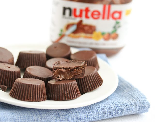 photo of nutella cups with one sliced in half to show the filling