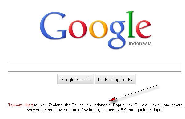 Peringatan Tsunami dari Google