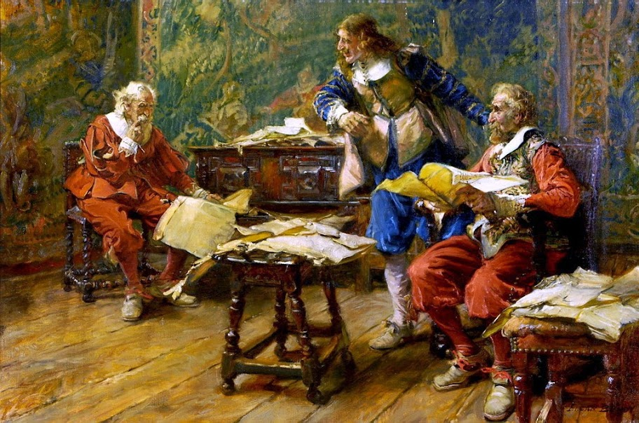 Edgar Bundy - Interior Scene with Three Cavaliers