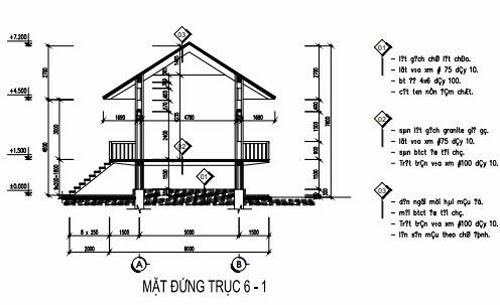 Mặt đứng trục 6-1 nhà sàn 2 tầng