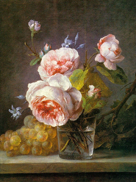 Anne Vallayer-Coster - Still Life of Pink Roses in a Glass