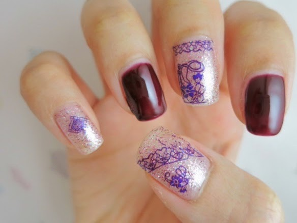 Stained Glass Pattern Water Decal Nail Art with HOT078