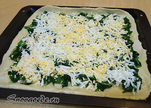 Пирог со шпинатом и яйцом