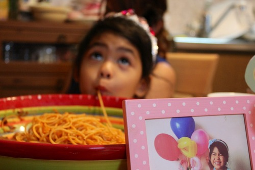 Azumi's sipping the spagetti