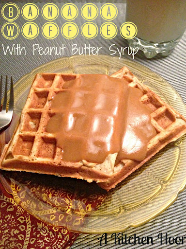Banana Waffles with PB Syrup for #SundaySupper