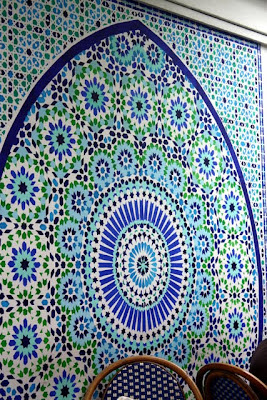 Mosaic tiles on the wall of the Mosquee de Paris in France