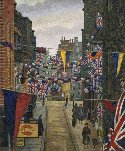 Charles Ginner - Flask Walk, Hampstead, on Coronation Day