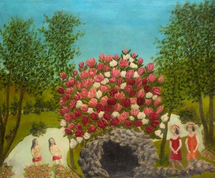 André Bauchant - Personnages regardant des fleurs