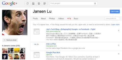 +1 tab on Google+