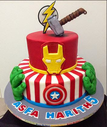 ... and easy cake design would be to use edible Avengers cake topper