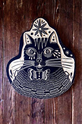 Catsparella cat wood carvings by bryn perrott