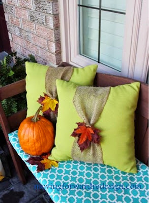 pillows, fall pillows, leaves